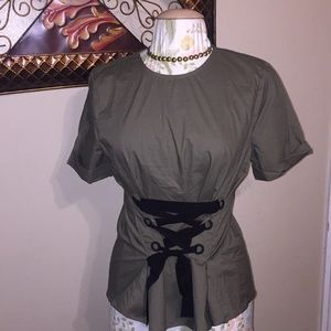 Alice Blue Small Top with front tie detail NWT!